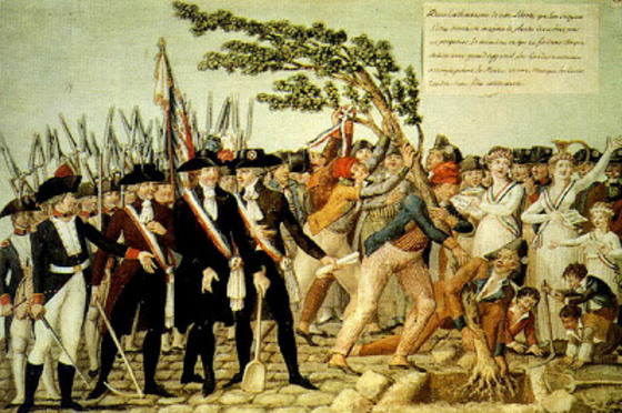 The Planting of a Tree of Liberty in Revolutionary France (1790) par Jean-Baptiste Lesueur. Licence : domaine public.